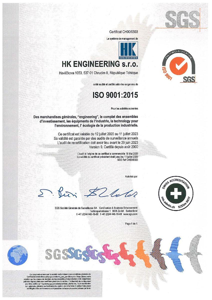 Iso Certification Hk Engineering Chrudim